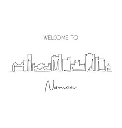 single continuous line drawing norman city vector image