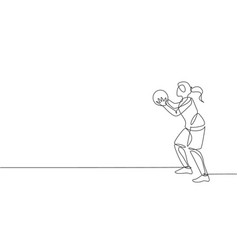 Single continuous line drawing young basketball vector