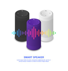 Smart speaker with colorful sound wave set of vector