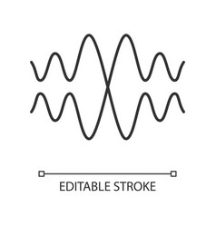 Sound audio wave linear icon thin line vibration vector