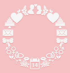 st valentine day round frame icons on a pink vector image