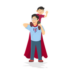 superhero dad concept father taking care son vector image