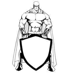 superhero holding shield line art vector image