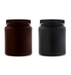 supplement jar blank black protein bottle mockup vector image