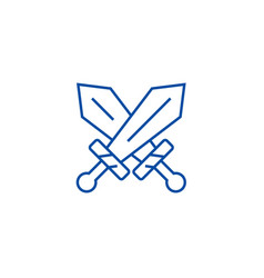 swords sign line icon concept swords sign flat vector image