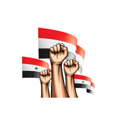 Syria flag and hand on white background vector