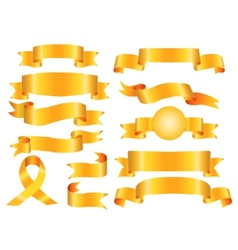 The collection yellow ribbons banners vector image
