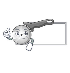 Thumbs up with board pizza cutter knife cartoon vector