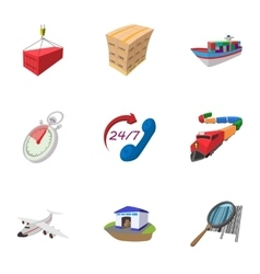 Transportation icons set cartoon style vector