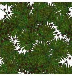 Tropical island seamless pattern Palm leaves vector image