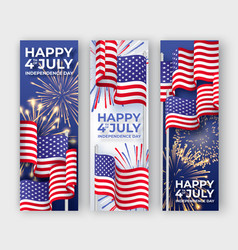 Usa independence day three vertical banners with vector