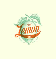 vintage lemon label vector image