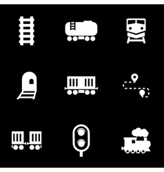 white railroad icon set vector image