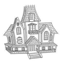witch house outlined for coloring page vector image