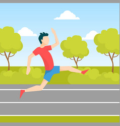 Young man jogging or running in park guy dressed vector