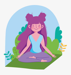 young woman practicing yoga in lotus posing on mat vector image