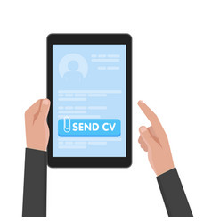 businessman hand hold tablet computer with resume vector image vector image