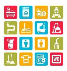 colorful cleaning icons vector image