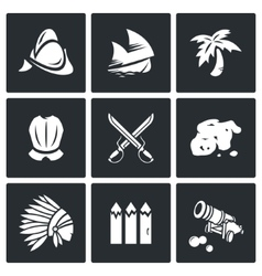 Conquistadors Indians and gold icons set vector image vector image