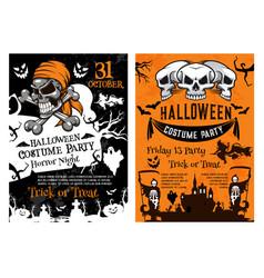 halloween pumpkin skull skeleton poster template vector image vector image