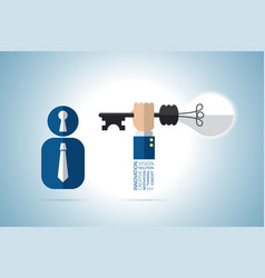 open mind concept with key lamp idea and keyhole vector image vector image