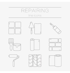 set of line icons for DIY finishing vector image vector image