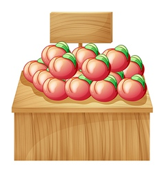 A fruit above a wooden table with a wooden vector image vector image