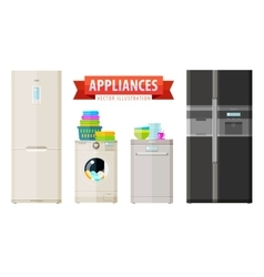 appliances icons set of elements - refrigerator vector image vector image