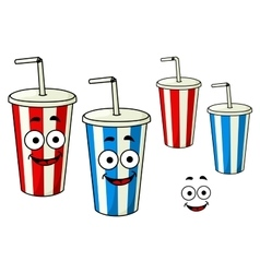 Cartoon takeaway soda striped cups vector image