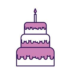 cute purple birthday cake cartoon vector image