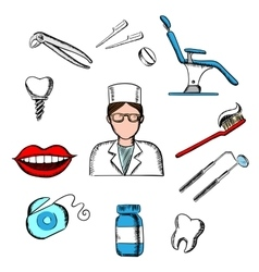 Dentistry medicine with dentist and objects vector image vector image