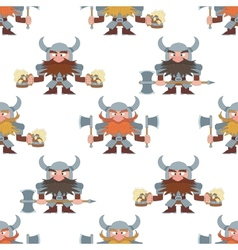 Dwarfs with beer mugs and axes seamless vector image vector image