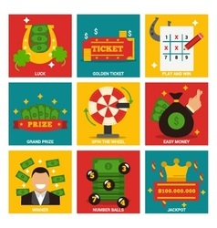 Lotto lucky nine concept items vector image
