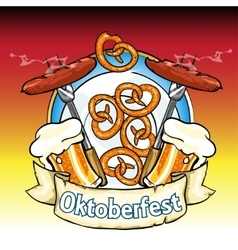 Oktoberfest label with beer pretzels and sausages vector image vector image