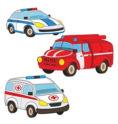 police fire ambulance vector image vector image