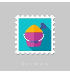 Sand Bucket and Shovel flat stamp with long shadow vector image vector image