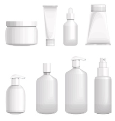 Set with different cosmetic bottles No gradients vector image vector image