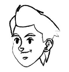 Sketch face boy sport style design vector