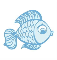 Cute cartoon hand drawn fish vector image vector image