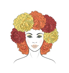 Girl with floral hair vector image vector image