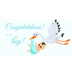 happy stork carrying cute vector image