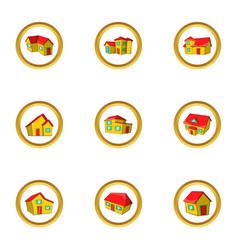House icon set cartoon style vector