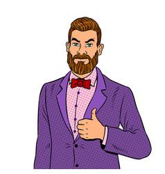 man with beard thumbs up pop art vector image vector image