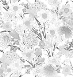 monochrome seamless texture with floral design vector image vector image