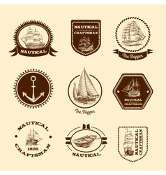 Sketch nautical emblems vector image
