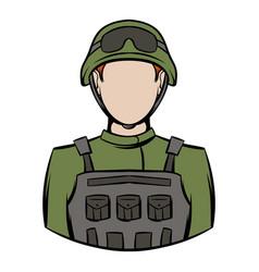 soldier icon cartoon vector image