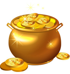 St Patrick Day gold pot with coins vector image