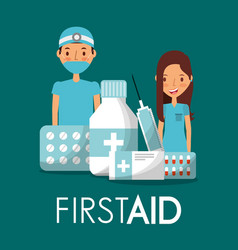 surgeon doctor and nurse with first aid medicine vector image