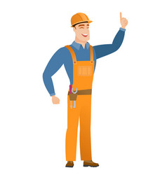 caucasian builder pointing with his forefinger vector image vector image