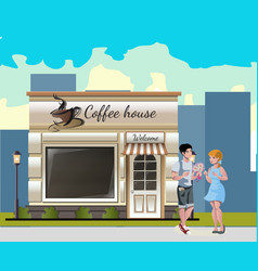couple having a dinner in street cafe vector image vector image